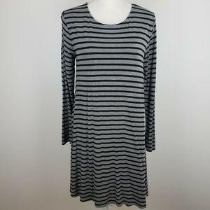 Old Navy Long Sleeve Swing Dress Gray Striped